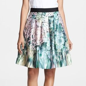 """Ted Baker floral """"glitch"""" A line skirt"""